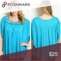 Teal Plus Size Top Cute top with gorgeous embroidery design, material is rayon and spandex Sizes available 1X, 2X, 3X  Price Firm unless bundled Boutique  Tops Blouses