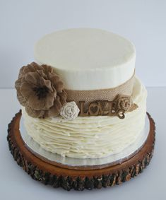 Rustic bridal shower cake. Burlap and buttercream ruffles