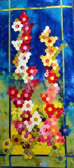 """Quilt Quebbel.  The """"Hollyhock"""" of Quartzite.  An idea if I ever learn to sew hexagons."""