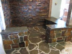 Another view of the amazing rustic stone & beam shower!