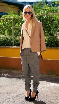 slouchy pants and camel blazer--can I pull off BR's grey plaid pant?