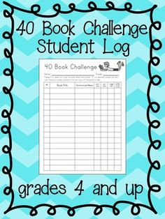 Here is a PDF version of a log I use for the 40 Book Challenge. Clip art from: http://www.teacherspayteachers.com/Store/A-Sketchy-Guy
