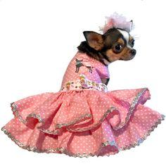 Custom Made: Dog Harness Summer Ruffle Dress featuring a Pink High Heels Print on Black Background Dog Dress Appliqued