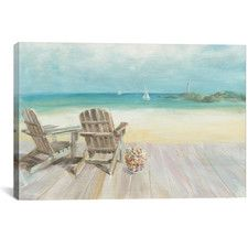 Seaside Morning No Window Graphic Art on Wrapped Canvas