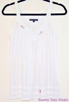 French Connection Top Cotton Babydoll Sleeveless White Flower Butterfly Shirt 6 #FrenchConnection #Babydoll #Casual