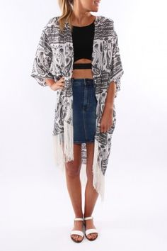 Isabelle Long Kimono The ISABELLE is a gorgeous long, lightweight, patterned Kimono.  Long tassels are a feature of this piece falling from the hemline.   This item is one size fits all so no need to deliberate your size!  $49.00 SHOP: http://www.jeanjail.com.au/ladies/isabelle-long-kimono.html