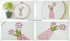 Ribbon Embroidery hoop wall art - Pink flowers in vase
