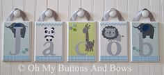 Hanging Name Letters . Nursery Room Decor . by OhMyButtonsAndBows