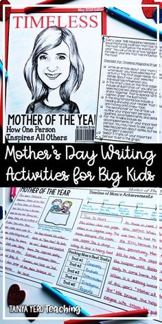 Mother's Day Activities for Elementary Students/ Mother's Day Crafts for Big Kids To celebrate Mother's Day, this resource contains 5 different activities for your students to use to make memorable keepsakes. Designed with 3rd grade to 5th grade in mind these activities go beyond a simple craft and require students to celebrate their moms through writing. Templates for grandmother and aunt are also included. Directions and pictures will provide examples and tips for each activity.