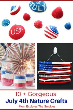 These gorgeous of July nature crafts are easy enough for kids to make & will be the perfect decor for your next July party! Autumn Activities For Kids, Summer Activities For Kids, Craft Activities, 4th Of July Fireworks, July 4th, Non Toy Gifts, Leaf Crafts, Patriotic Decorations, July Crafts