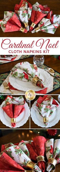 "Complete your Cardinal Noel ensemble with these reversible cloth napkins made with the gorgeous Cardinal Noel fabrics. The beautiful colors of this collection are sure to make your place setting stand out!  This project is quick, and the instructions are easy to follow. For extra instruction, follow along with Jen in the video tutorial below!  Napkins measure approximately 17½"" x 17½""."