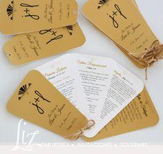 Programas / Misales en forma de abanico para las bodas de Lina + Jeisson / Wedding programs / Art Deco / Gatsby Concept / dorado / gold / complementos / tarjetería  / handmade / hechoamano