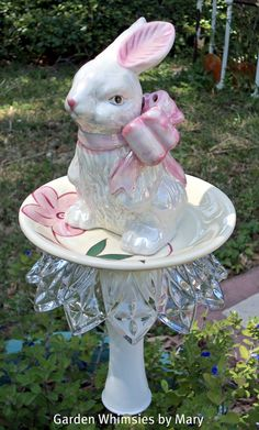 Garden Stake Petite Pink Bow Bunny by GardenWhimsiesByMary on Etsy, $25.00