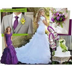 Just lovely plum-lime-grey themed wedding! Beautifully modest gown and bridesmaid dress! Elegant wedding cake and bouquet!