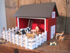 Kids Toy Wooden Barn  Includes Fenced in Wooden by TheSquareNail, $149.00