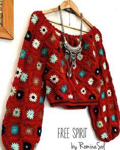 Free Spirit By Rominasol Crochet Jacket, Crochet Cardigan, Mode Crochet, Knit Crochet, Hippie Pullover, Crochet Clothes, Diy Clothes, Crochet Designs, Crochet Patterns