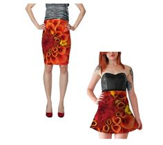 Orange Floral Skirt Fitted Pencil Skirt Flare by WhimZingers
