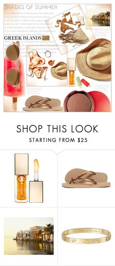 """""""Greek Islands"""" by dragananovcic ❤ liked on Polyvore featuring Guerlain, Clarins, Havaianas, Cartier and Mykita"""