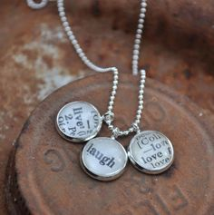 Vintage Dictionary Word Necklace Pendant LIVE LAUGH LOVE $28.00 #etsy #handmade