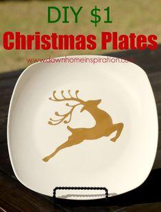 Super simple DIY $1 Christmas Plates - Down Home Inspiration