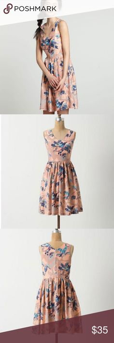 Anthropologie Macquarie Bird Dress, sz 10 By Zoologist Charlotte Linton. In GUC. The fabric has a few pills that can be removed. Anthropologie Dresses