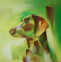 Joris (jachthond)  Olieverfschilderij op doek 40 x 40 cm