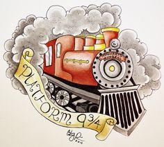 Harry Potter Hogwarts Express train watercolor
