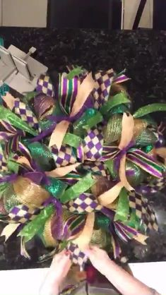 Mardi Gras Deco Mesh Wreath - Welcome to our website, We hope you are satisfied with the content we offer. Ribbon Wreath Tutorial, Mesh Ribbon Wreaths, Christmas Mesh Wreaths, Mardi Gras Centerpieces, Mardi Gras Decorations, Mardi Gras Wreath, Mardi Gras Beads, Disney Wreath, Wreath Crafts