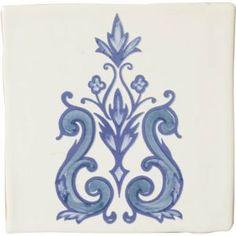 Carrelage mural manises dec. Delf nº3 azul manises blanco 13x13 - Comptoir du Cérame