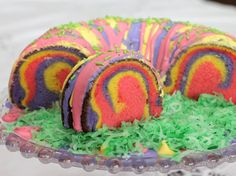 Rainbow Ring Easter Basket Cake  This cake is so fun to bake that you will want to make it your own and get creative with different colors!