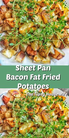 Sheet pan recipe for breakfast. Bacon fat fried potatoes are a crispy addition to your eggs and bacon. Side Dish Recipes, Great Recipes, Favorite Recipes, Food Dishes, Side Dishes, How To Make Bacon, Breakfast Recipes, Bacon Breakfast, Breakfast Ideas