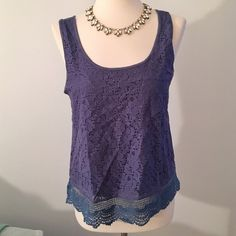 Lace and crochet tank Navy lace and crochet tank. Crochet on bottom. Cotton back. 95% viscose 5% spandex.,brand new with tags Forever 21 Tops Tank Tops