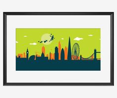 London Skyline Print Peter Pan Inspired Art By SKYWORLDPROJECT