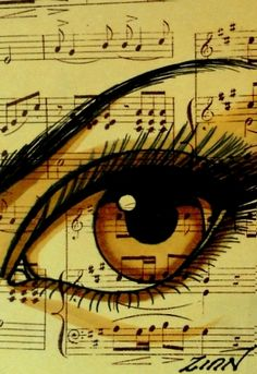 "Aceo  Original    ""BROWN MUSIC""   EYE    ink/mixed    ZINN"