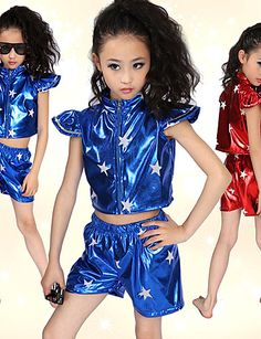 Jazz Performance Dancewear Beautiful Patent Leather Jazz Dance Outfits For Children(More Colors) - USD $ 19.99