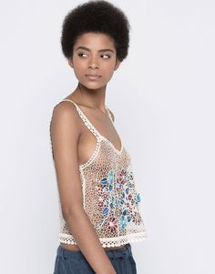 EMBROIDERED CROCHET TOP - BLOUSES & SHIRTS - WOMAN - PULL&BEAR United Kingdom