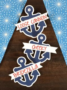 Nautical Bachelorette Party Pins Name Tags Red by LetsWearDresses, $2.00