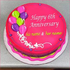 Do you want to couple name of wedding anniversary cake images? anniversary wishes for a friend anniversary cake with write couple name online Anniversary Cake Pictures, Anniversary Cake With Name, Marriage Anniversary Cake, 6th Anniversary, Round Birthday Cakes, Birthday Sheet Cakes, Round Cakes, 50th Birthday, Cake Name