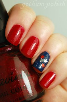 4th of July Red and Blue Nails With Silver Stars | 4th of July Nail Ideas!