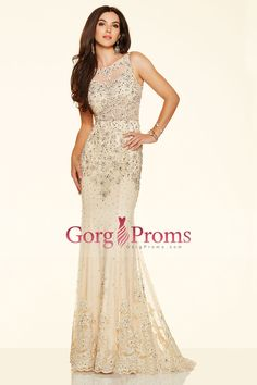 2016 See-Through Prom Dresses Scoop Sheath Tulle With Applique And Beading US$ 269.99 GPPBRQXE24 - GorgProms.com for mobile