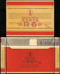 Reemtsma R6 cigarettes package, mid 1930's