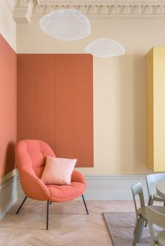 The designers' response was to create a colour palette based on some of the tones already there. They then applied these pastel hues to walls, mouldings, and door and window frames.    They call the project Hidden Tints.