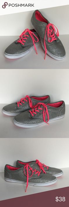 Vans Sneakers w/ Pink Laces NWOT Vans Sneakers in gray & silver canvas uppers with bright pink laces and white rubber with thin gray stripe around bottom of shoe. Sole is pink geometric design. New without tags. NWOT. Never worn. Size 9.5 Vans Shoes Sneakers