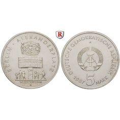 DDR, 5 Mark 1987, Alexanderplatz, st, J. 1615: Kupfer-Nickel-5 Mark 1987. Alexanderplatz. J. 1615; stempelfrisch 5,50€ #coins