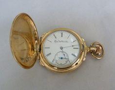 ANTIQUE VINTAGE 1892 14K GOLD ELGIN HUNTER CASE POCKET WATCH SIZE 16S 120.9 GR #Elgin