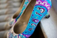 Leah's hand painted cat themed bridal shoes by Love, Miranda Marie. www.lovemirandamarie.etsy.com