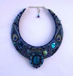 Lovely Blues here. Bead Embroidered collar by CiresHouse