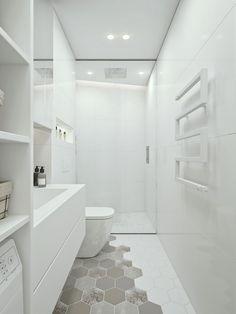 Moderne witte badkamer met inloopdouche en washok | Huis-inrichten.com