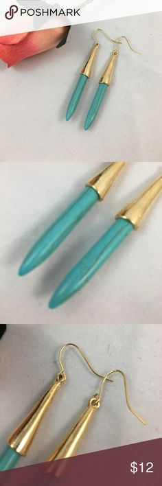 NWOT Turquoise & Gold Boho Drop Earrings Beautiful earrings made out of zinc alloy and acrylic. These were never worn and are ready for a home where they will be worn! A great statement piece to add some color to your wardrobe. Jewelry Earrings