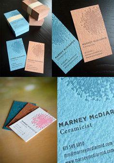 Elegant Textured Two Colour Letterpress Business Card For A Ceramic Artist